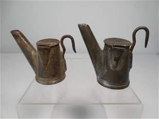 2 Antique Washington County PA Miner's Lamps