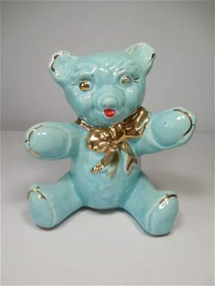 Antique Blue Pottery Ceramic Bear Bank