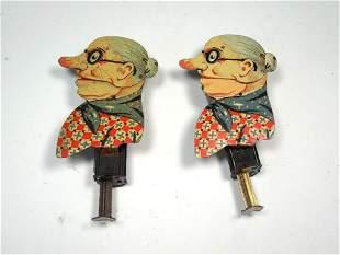 2 Sparking Toys Tin Litho Halloween Noisemaker