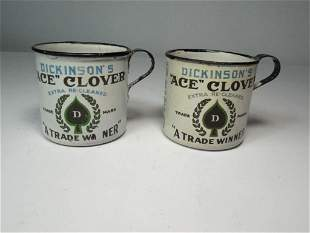 2 Dickinson Ace Clover Enamel Mugs Advertising