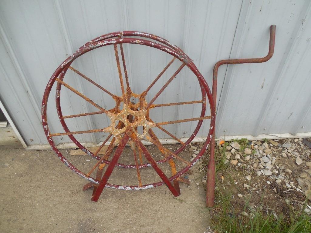 Antique Fire Engine Hose Reel w/Crank