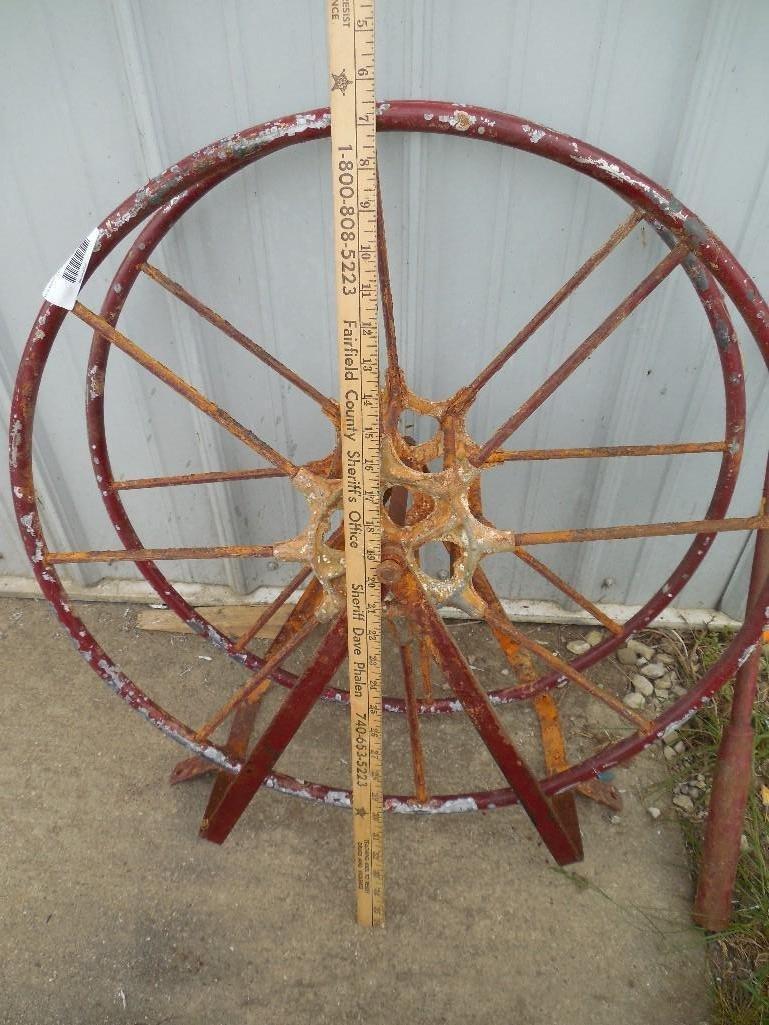 Antique Fire Engine Hose Reel w/Crank - 3