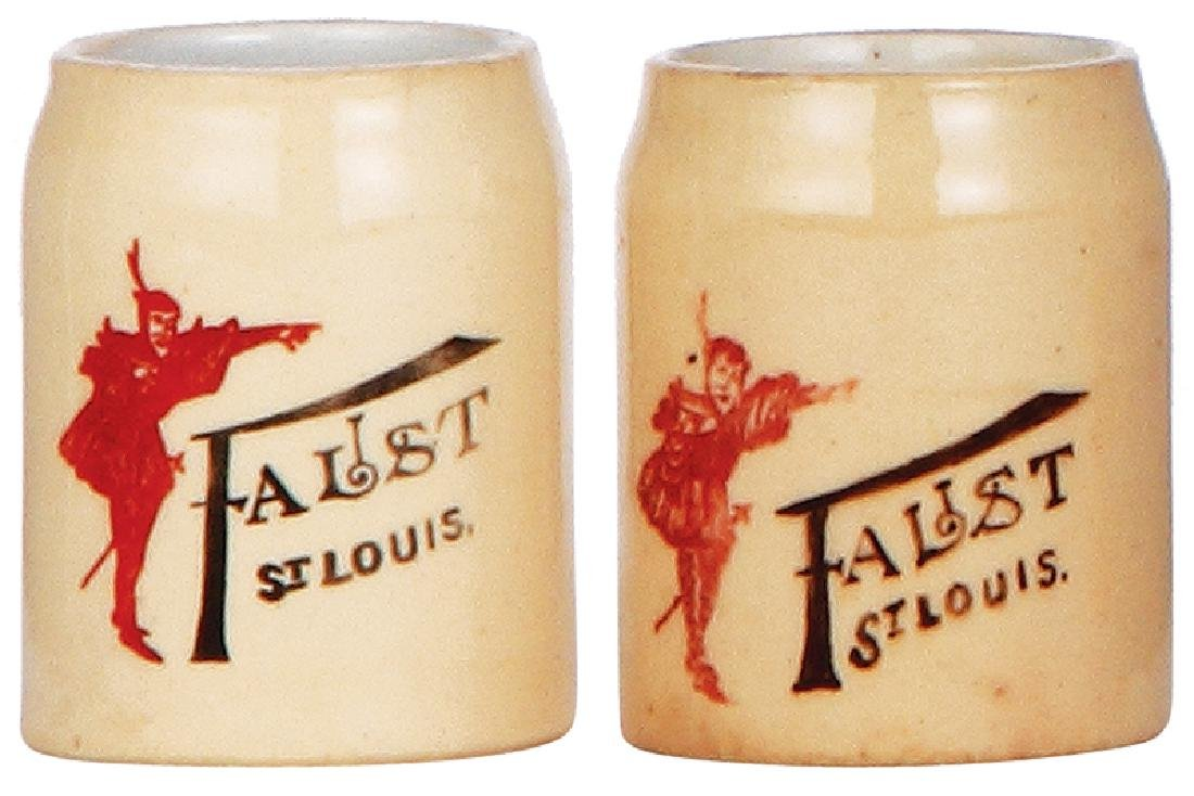 Two pottery mugs, Faust