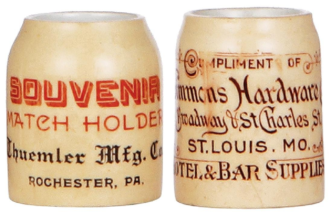 Two pottery mugs, advertising