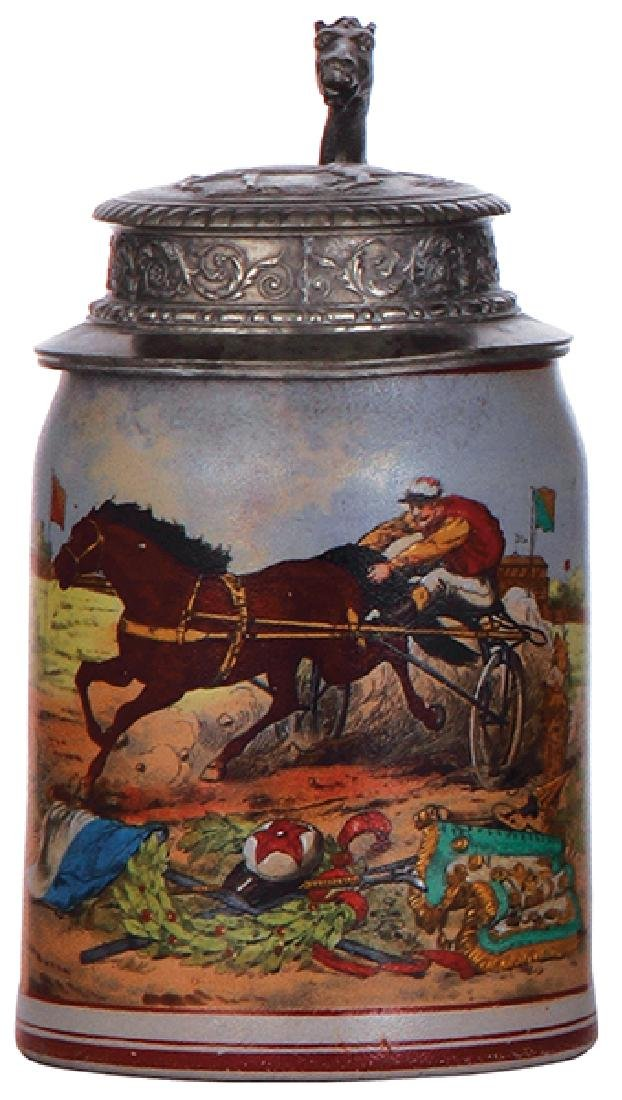Stoneware stein, harness racing