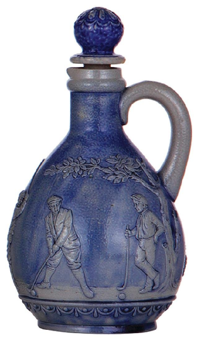 Stoneware bottle, golfers