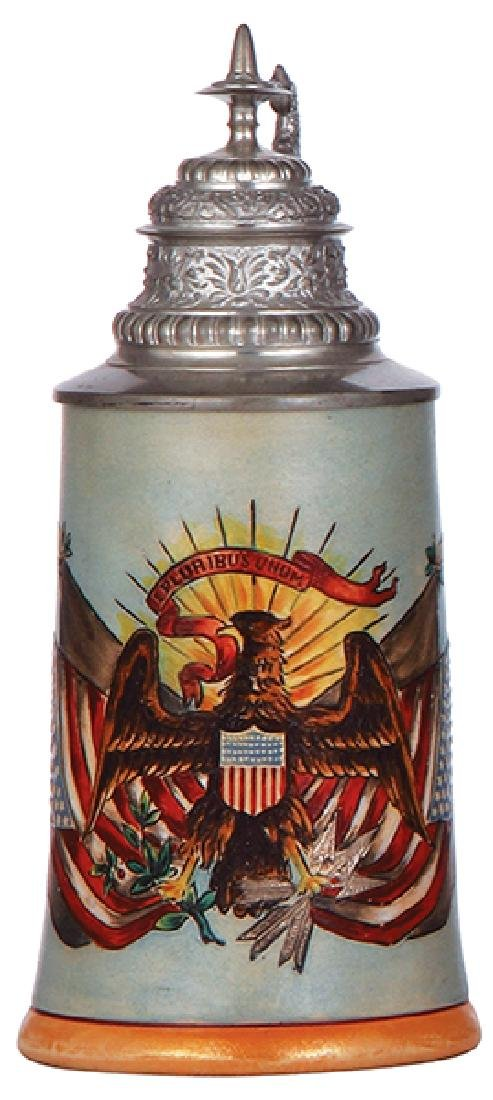 Pottery stein, American eagle & flags