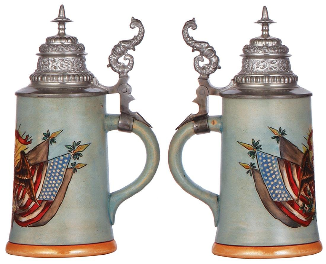 Pottery stein, American eagle & flags - 2