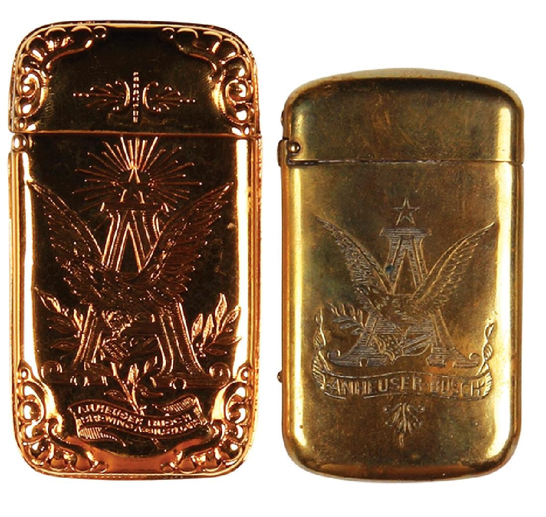 Two Anheuser-Busch match safes