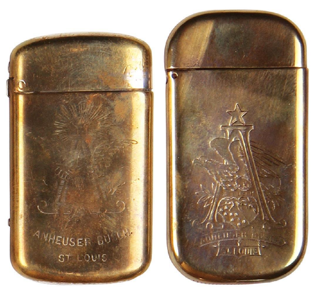 Two Anheuser-Busch match safes