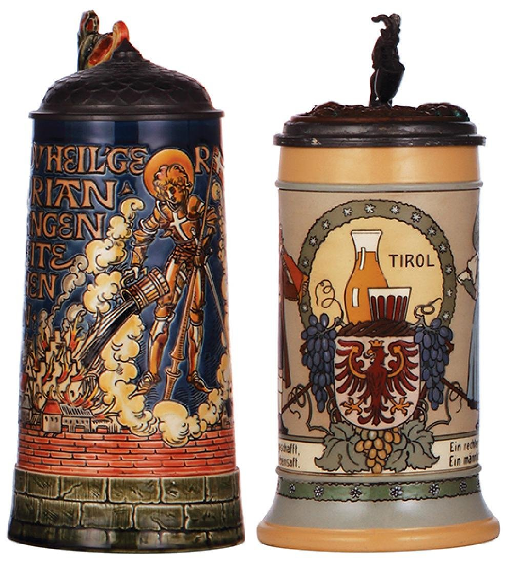 Two Mettlach steins, 1786 & 3143