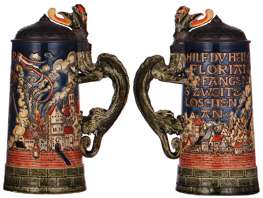 Two Mettlach steins, 1786 & 3143 - 2