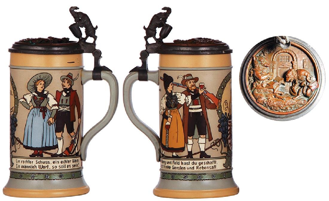 Two Mettlach steins, 1786 & 3143 - 3