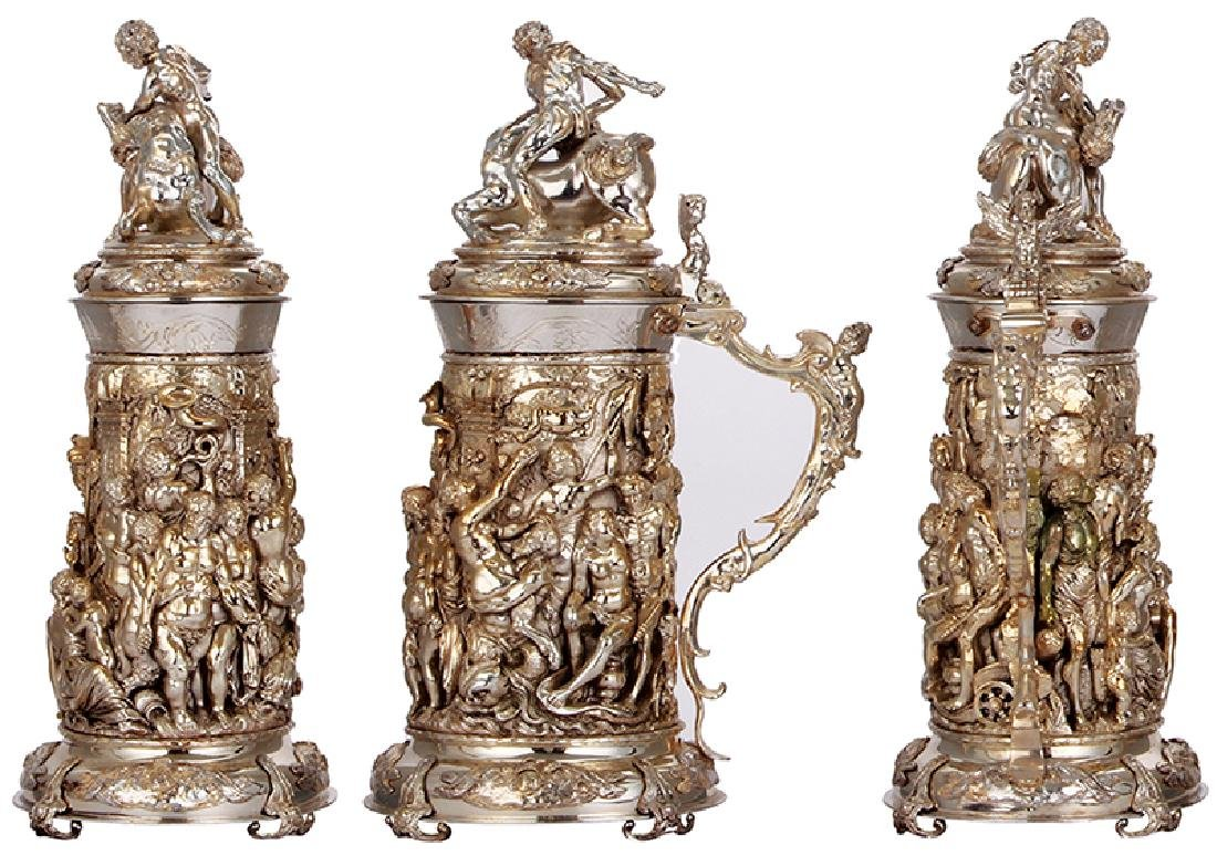 Silver-plated stein, - 2