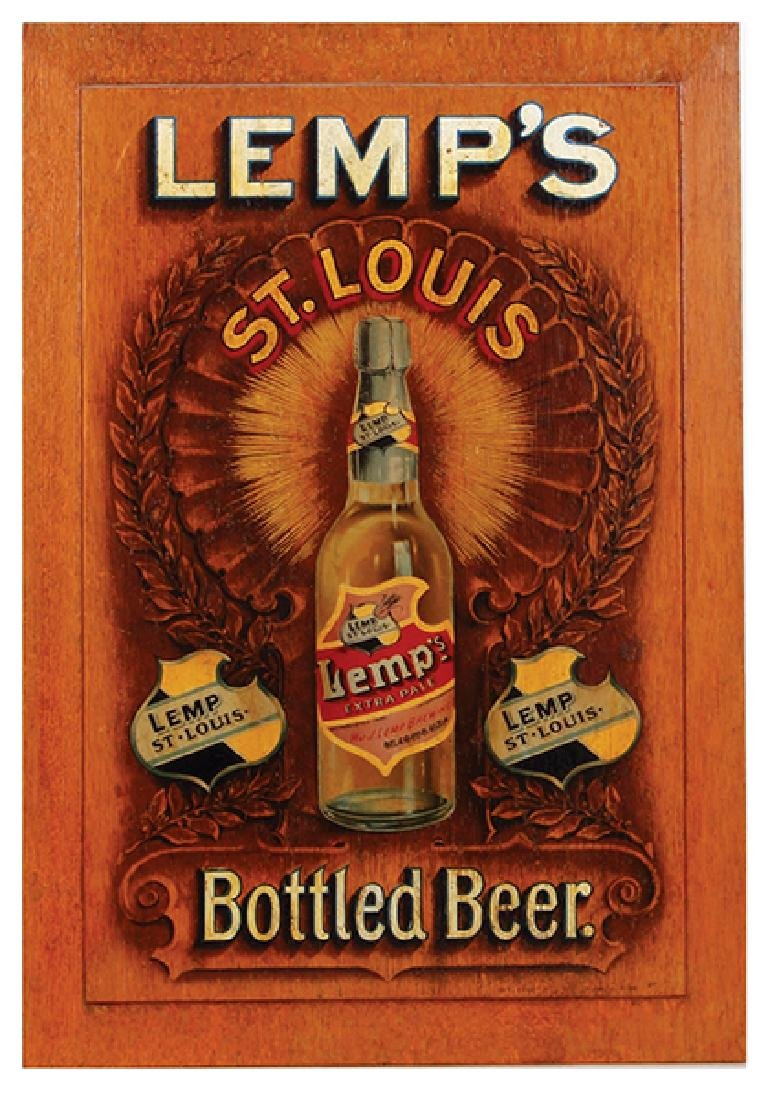 Lemp's Bottled Beer lithograph on wood