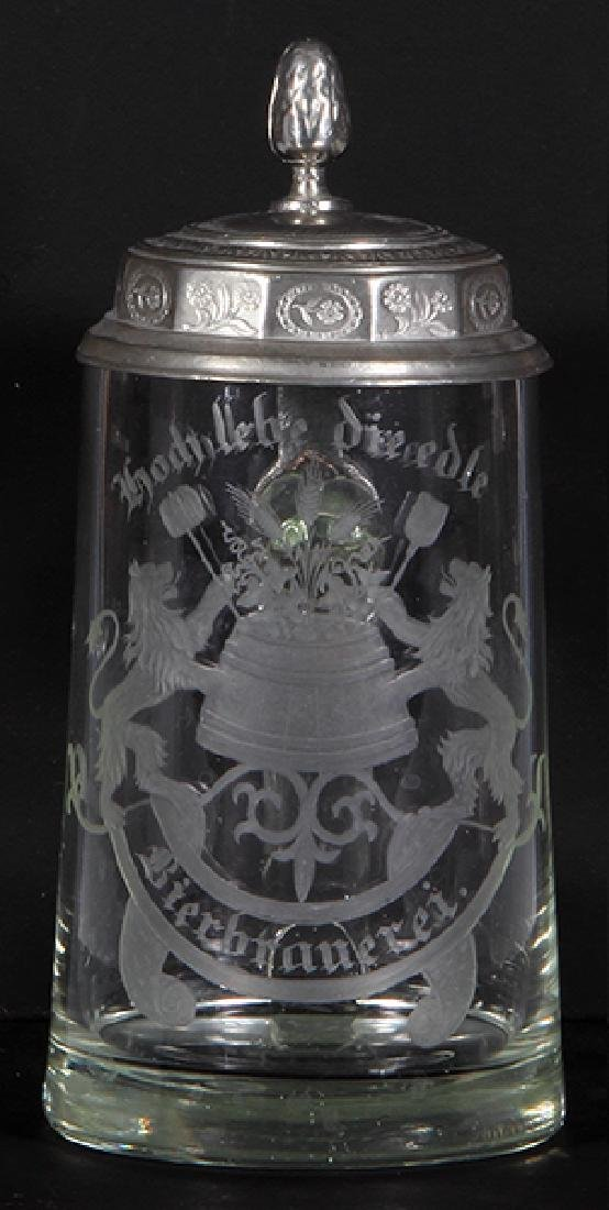 Glass stein, wheel-engraved