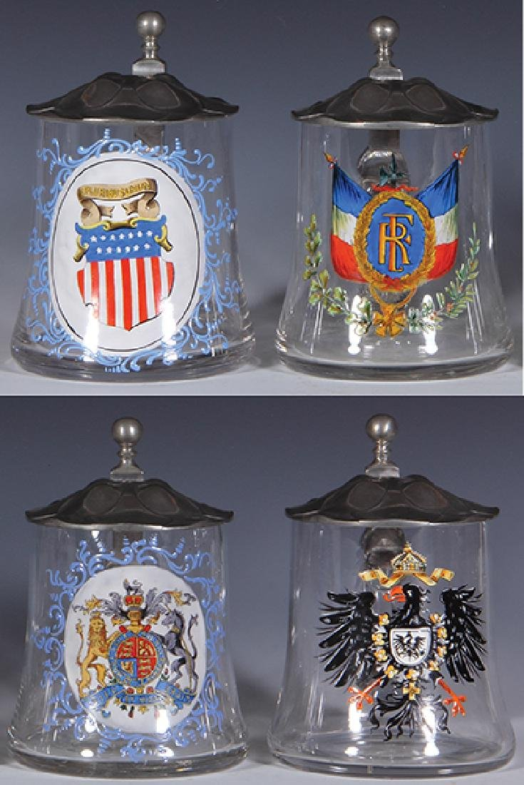 Four glass steins