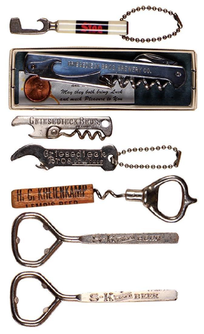 Seven bottle openers