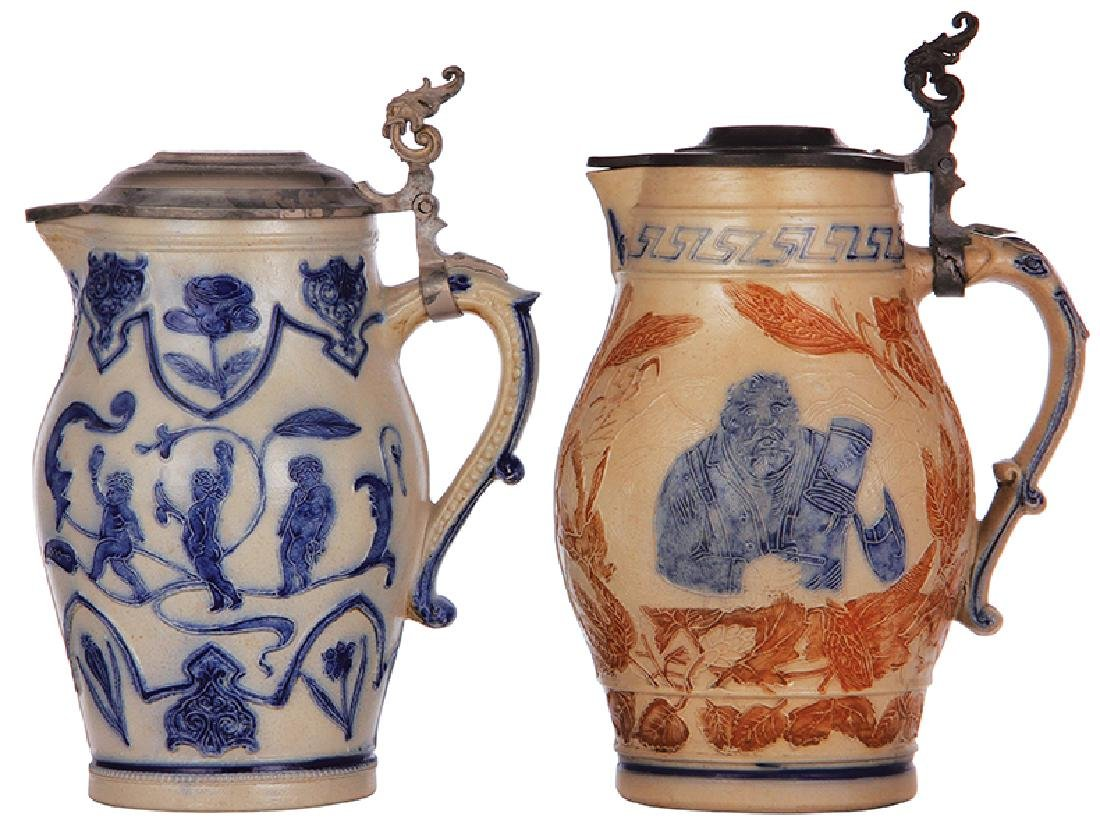 Two stoneware steins Whites, Utica