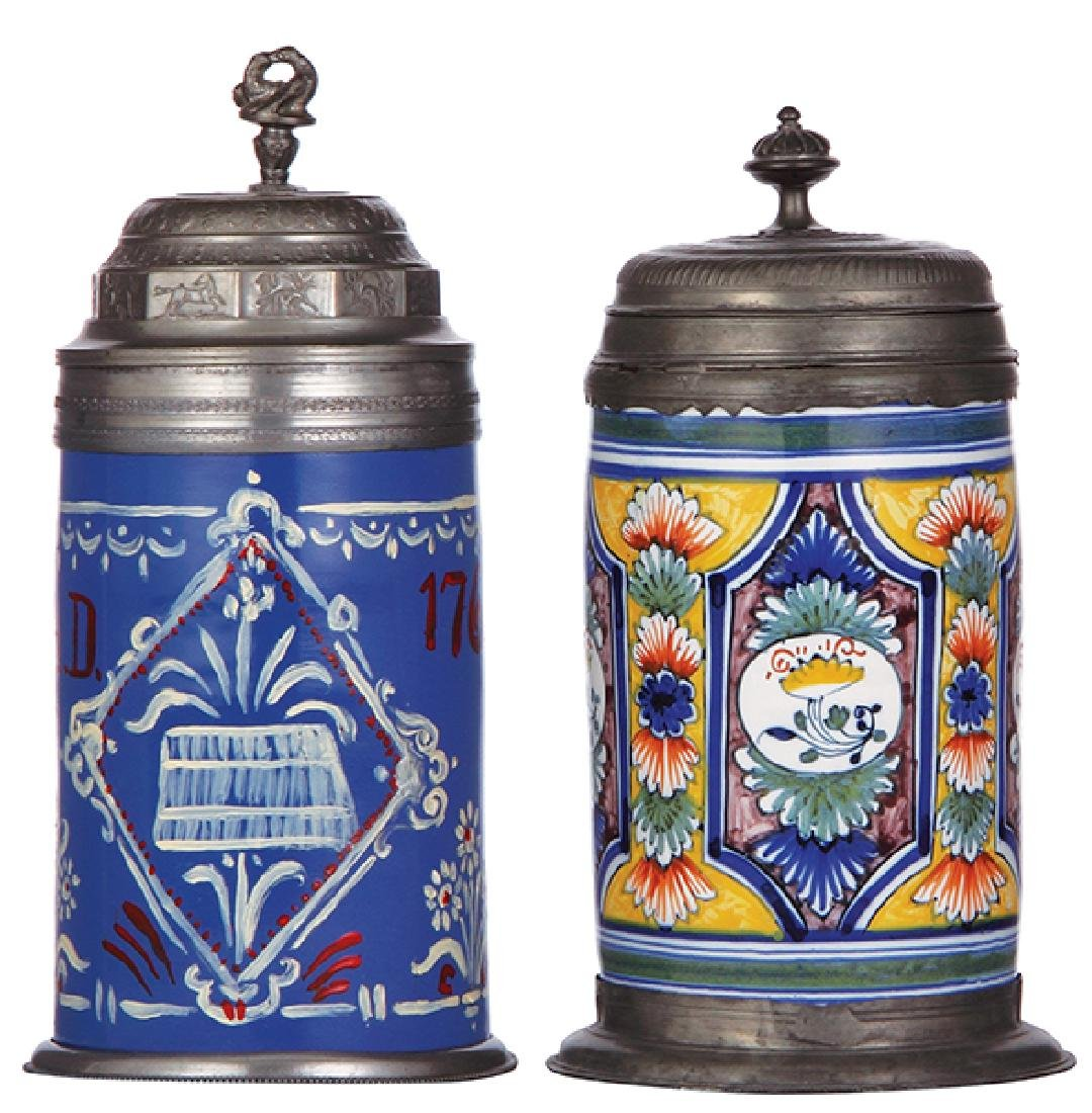 Two faience steins