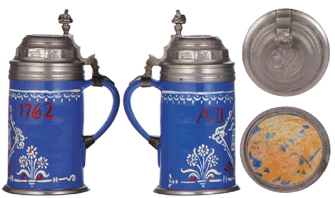 Two faience steins - 2