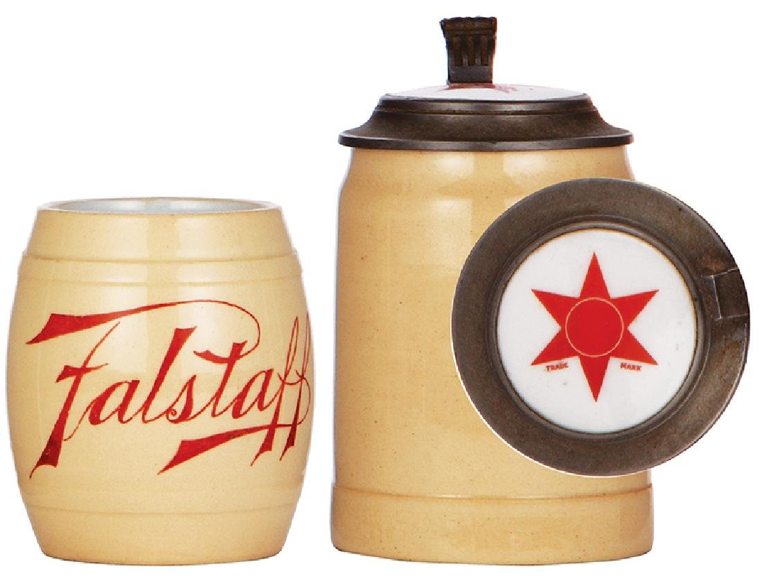 Two pottery steins, Red Star