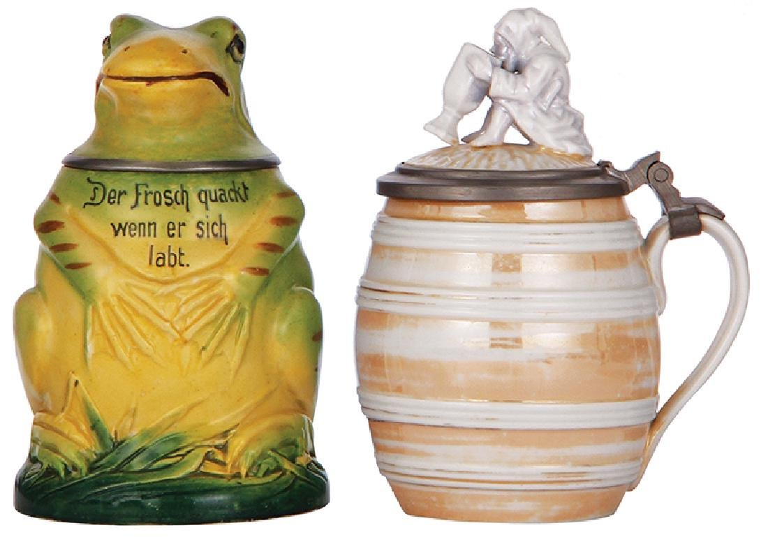Two Character steins, Frog & Gnome