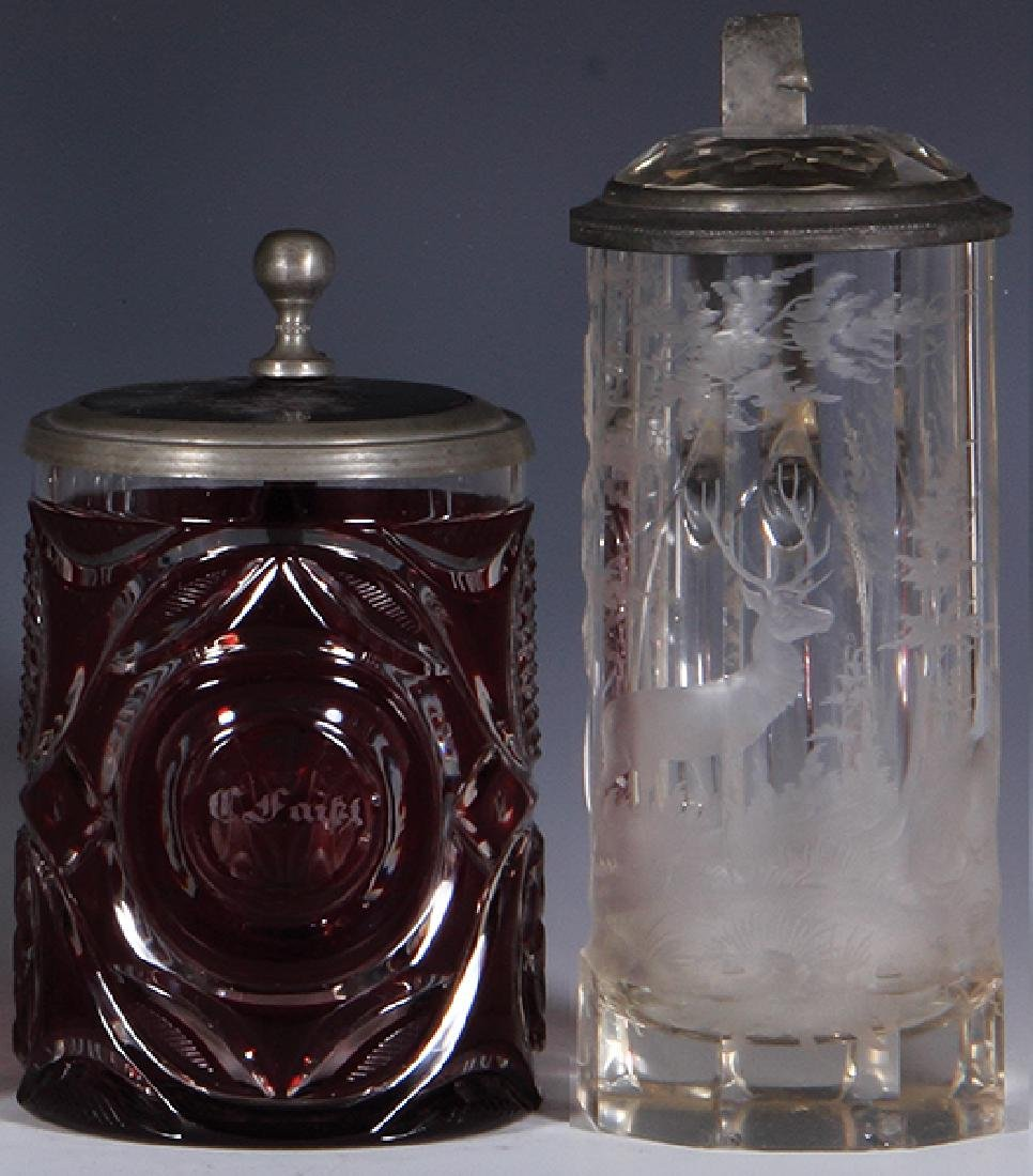 Two glass steins