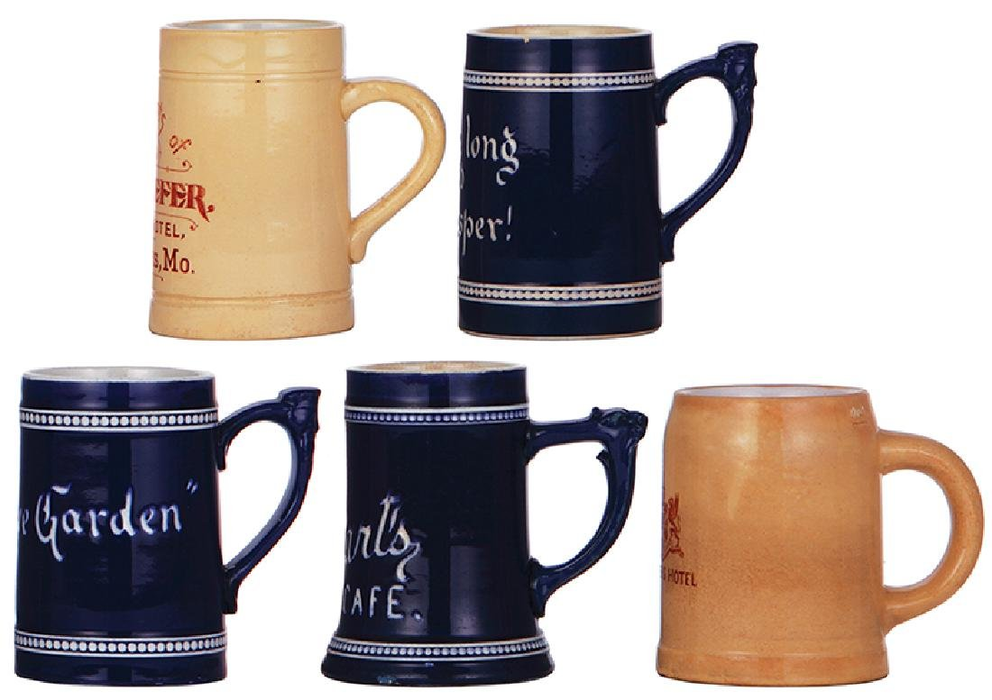 Five pottery mugs, St. Louis - 2