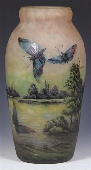 Muller Freres butterflies cameo glass vase