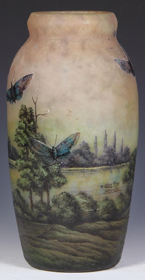 Muller Freres butterflies cameo glass vase - 2