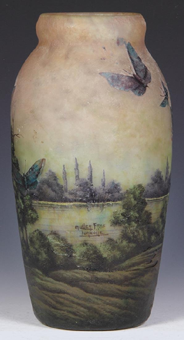 Muller Freres butterflies cameo glass vase - 3