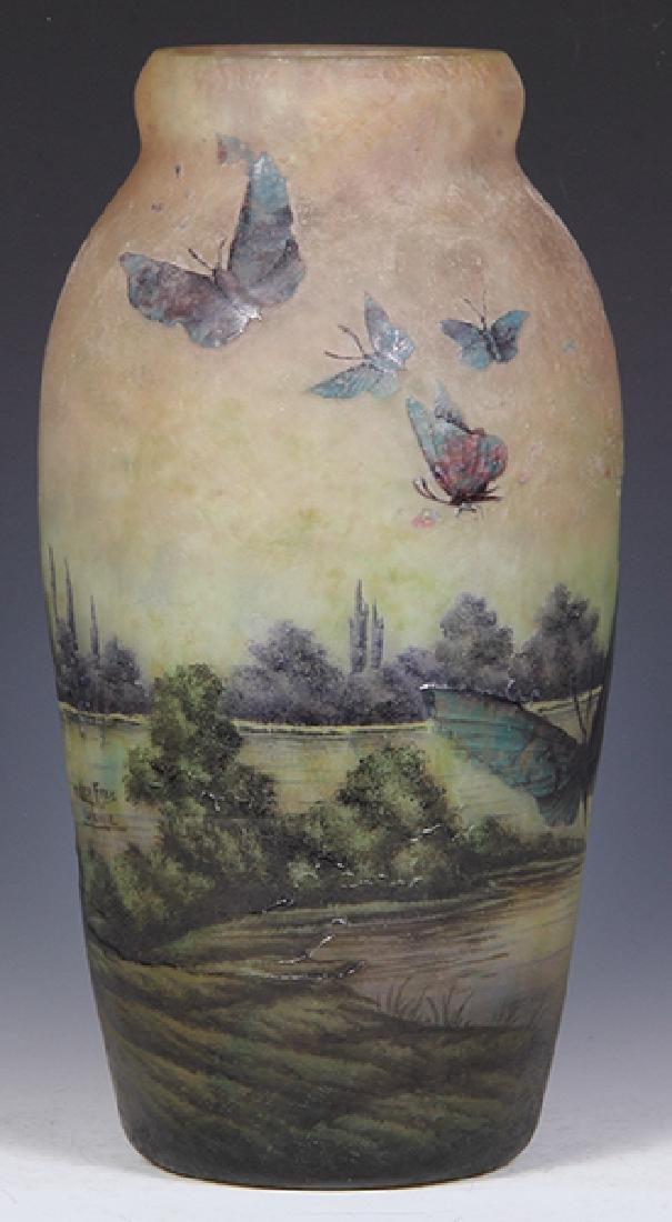 Muller Freres butterflies cameo glass vase - 4