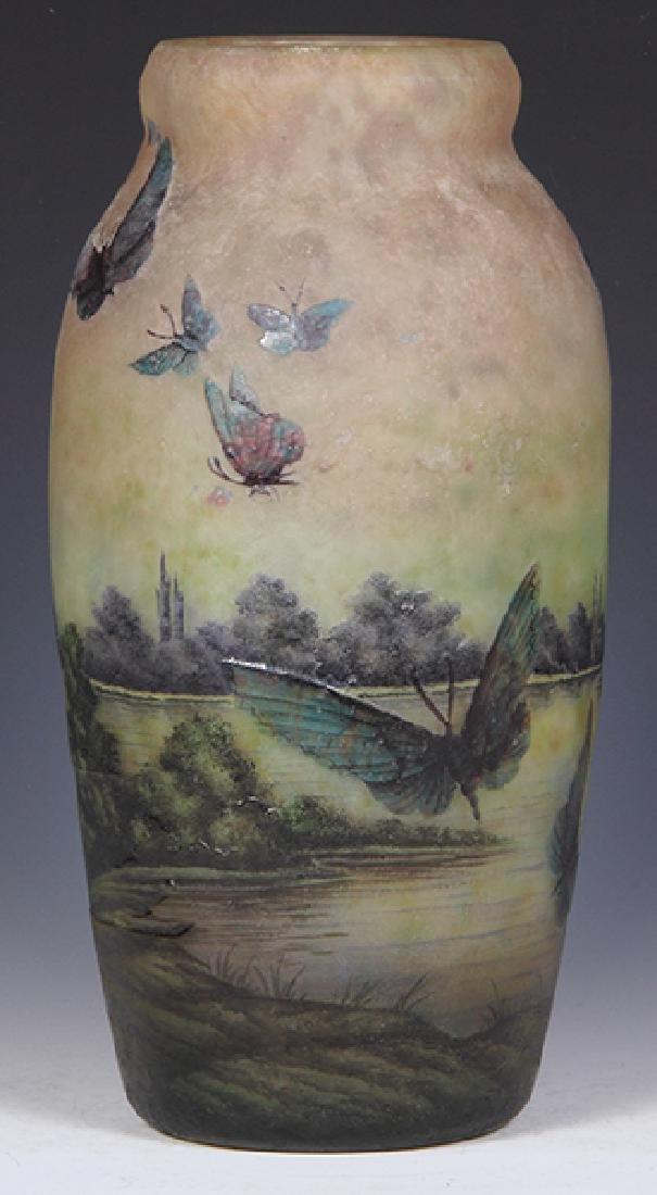 Muller Freres butterflies cameo glass vase - 5