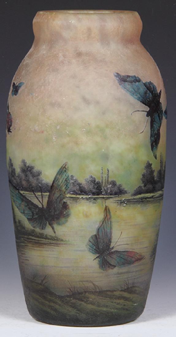 Muller Freres butterflies cameo glass vase - 6