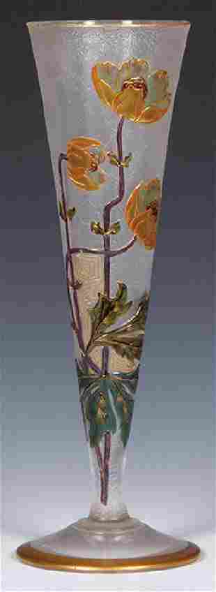 Mont Loye enameled glass vase