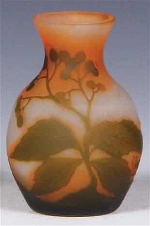 Georges Raspiller cameo glass vase