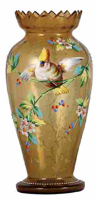 Glass vase, 12.1'' ht., bird and floral