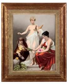 KPM porcelain plaque, Die drei Parzen