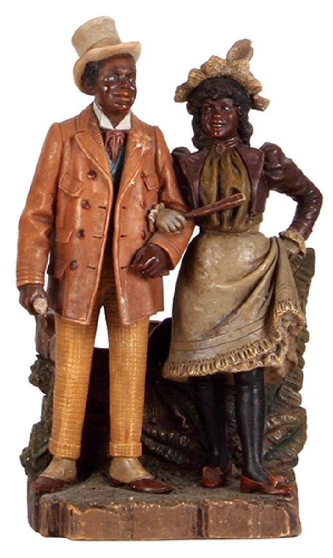 Terra cotta figurine Black Couple man & woman