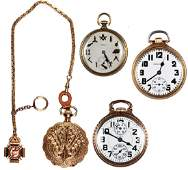 Four Pocket Watches Sixty Hour Bunn Masonic