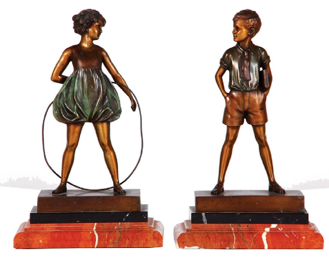 Two F. Preiss bronze figures boy & girl
