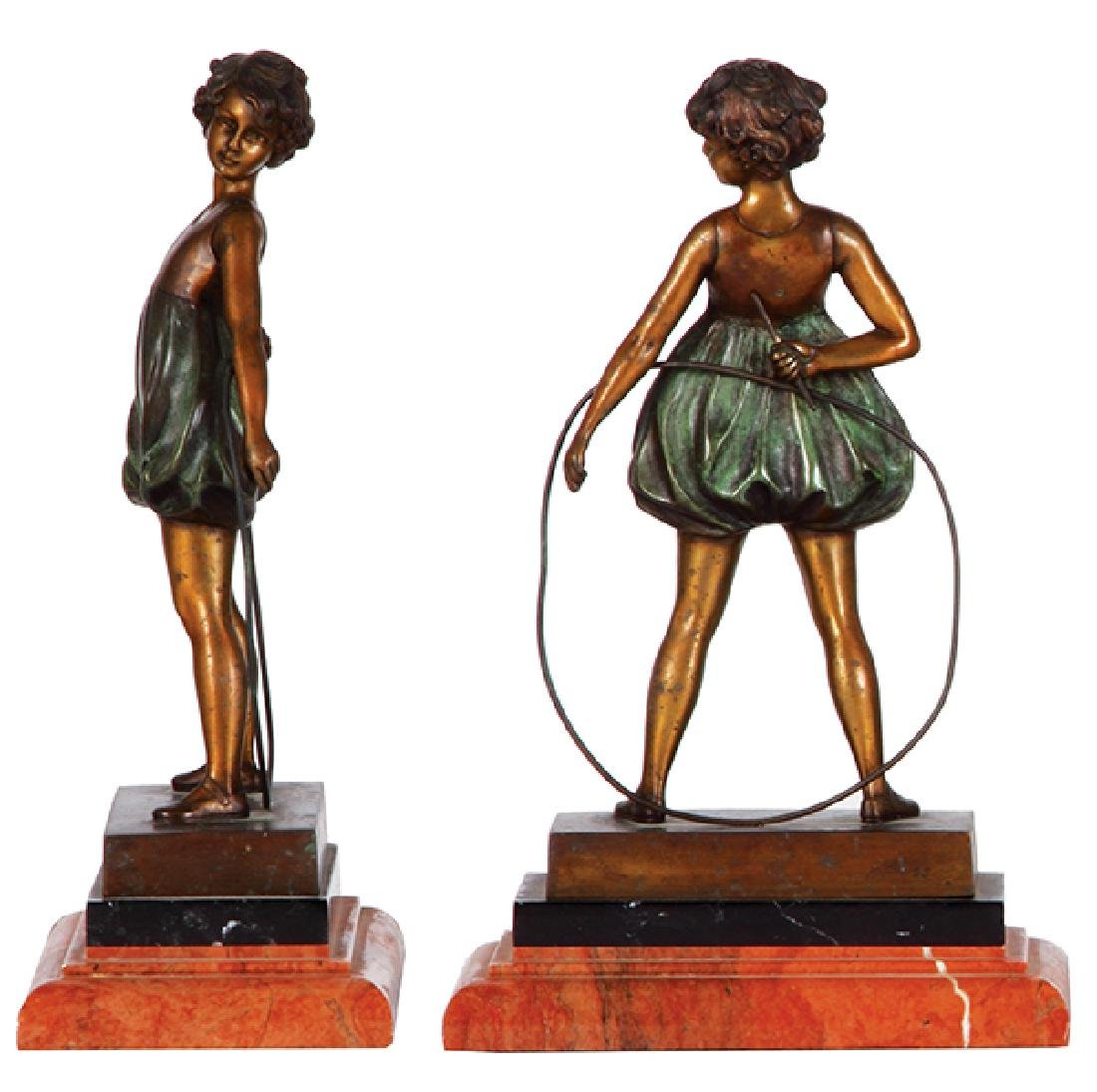 Two F. Preiss bronze figures boy & girl - 2