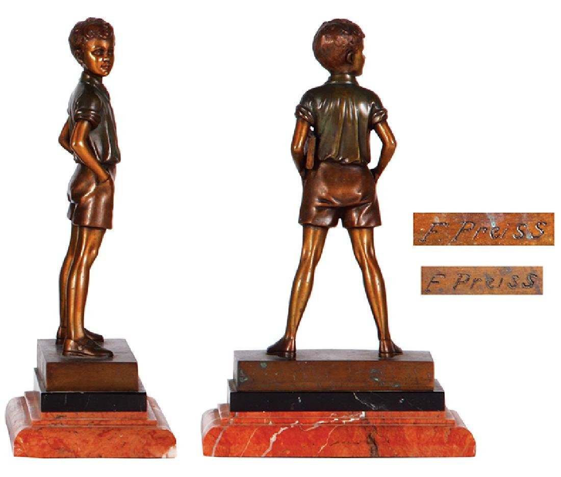 Two F. Preiss bronze figures boy & girl - 3