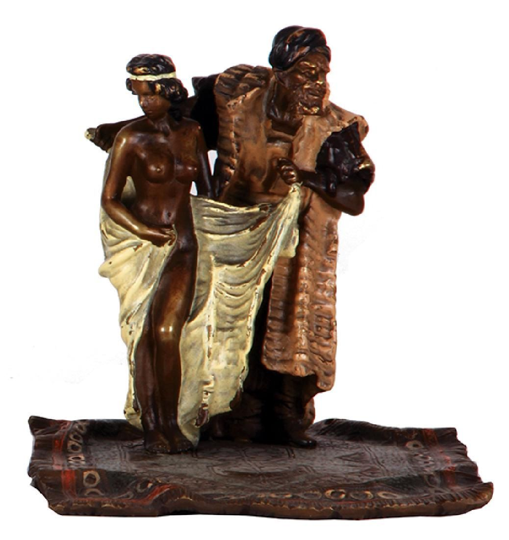 Austrian Bergmann bronze man & nude woman
