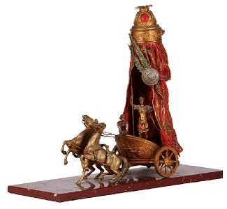 Austrian Bergmann Roman chariot on marble base
