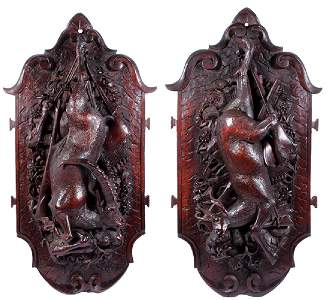 Pair Black Forest wood hunters trophy plaques