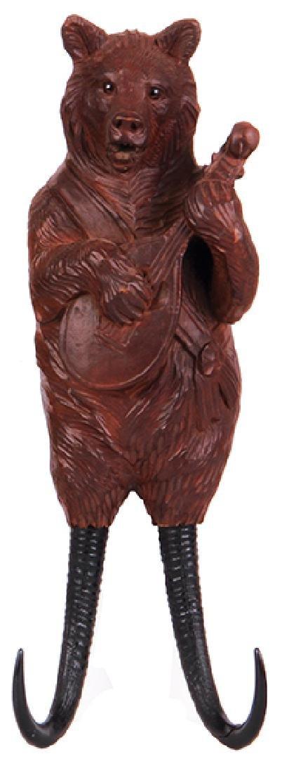 Black Forest wood carved bear coat hook