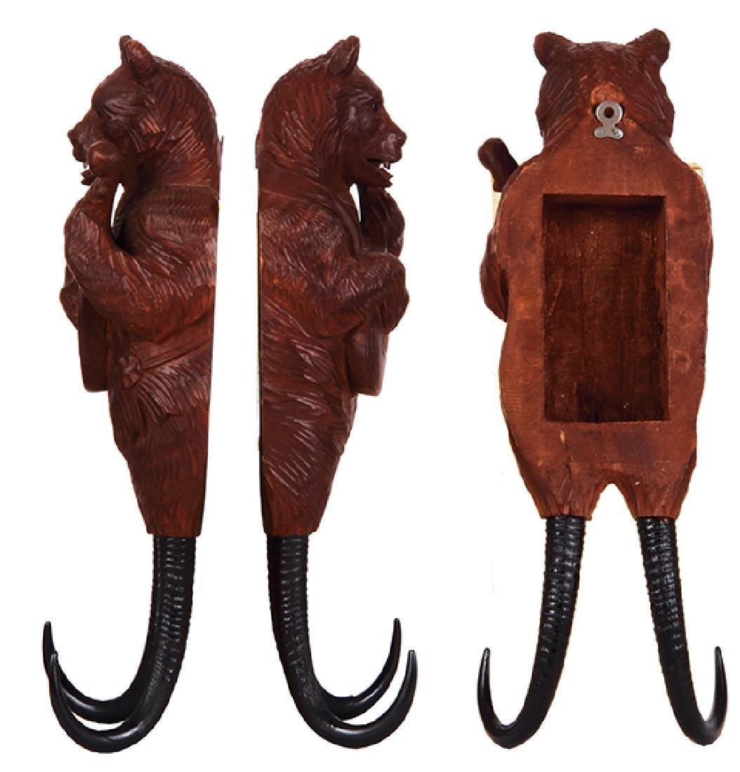 Black Forest wood carved bear coat hook - 2