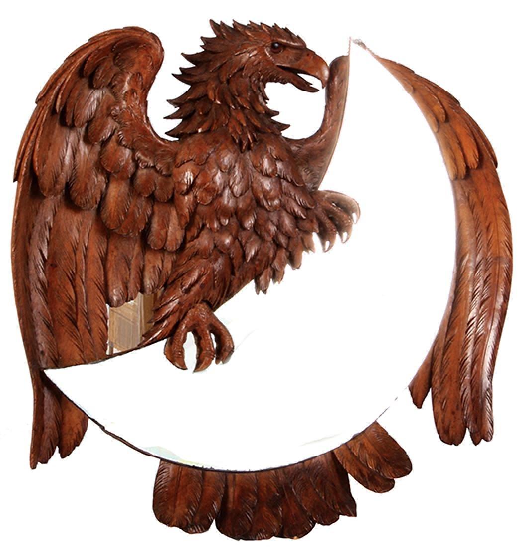 Black Forest wood carved eagle mirror